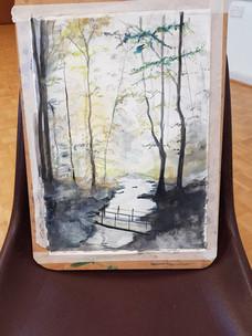 Pam's woodland painting