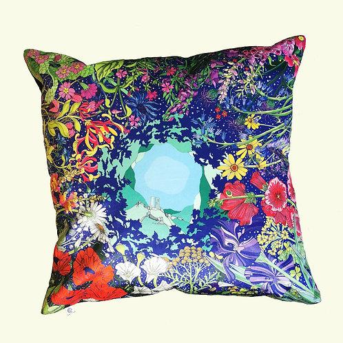 Wild flowers at Corfe Giant Velvet Cushion