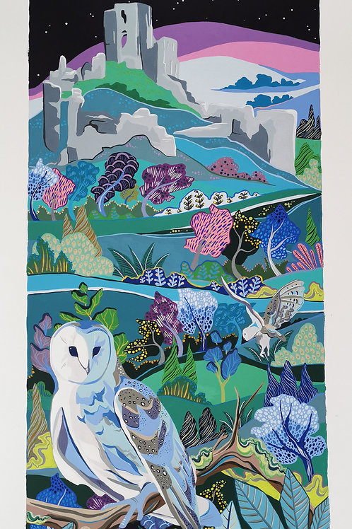 Barn owls at Corfe Castle print