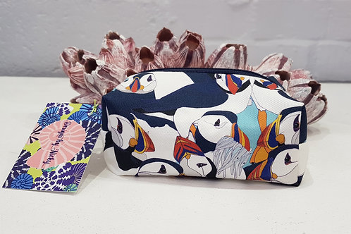 Party with the Puffins mini makeup bag