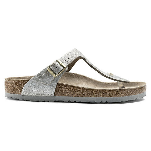 Birkenstock Gizeh Suede Leather Washed Metallic Blue Silver