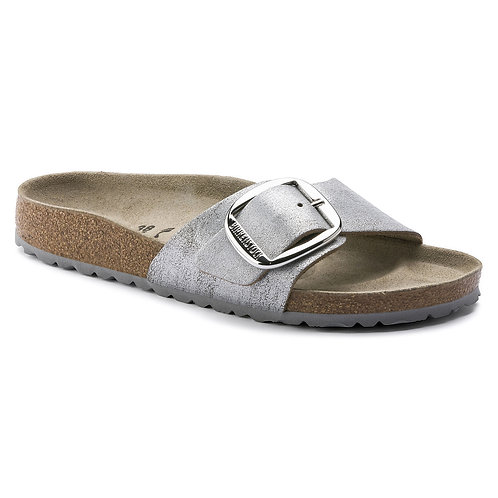 Birkenstock Madrid Big Buckle Washed Metallic Blue Silver 113151