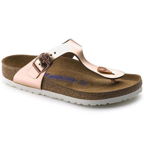 Birkenstock Gizeh Natural Leather Soft Footbed Metallic Copper 109522