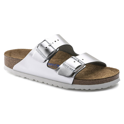 Birkenstock Arizona Natural Leather Soft Footbed Metallic Silver 108231