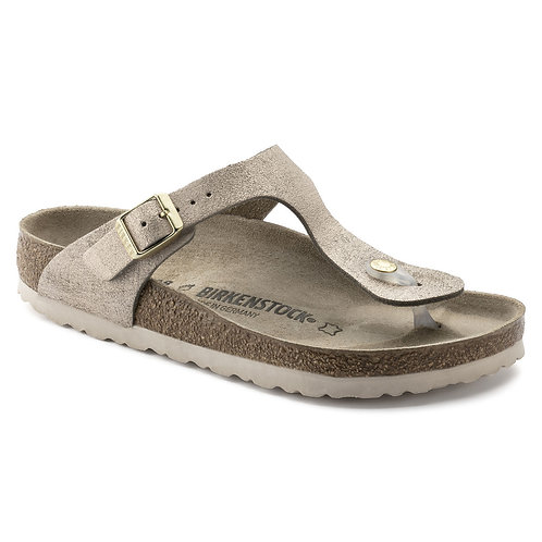 Birkenstock Gizeh Suede Leather Washed Metallic Rose Gold 110200