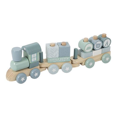 Little Dutch Chemin de fer en bois Blue 115714