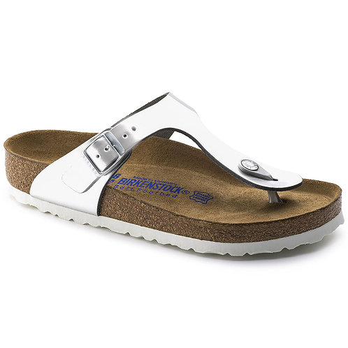Birkenstock Gizeh Natural Leather Soft Footbed Metallic Silver 107953