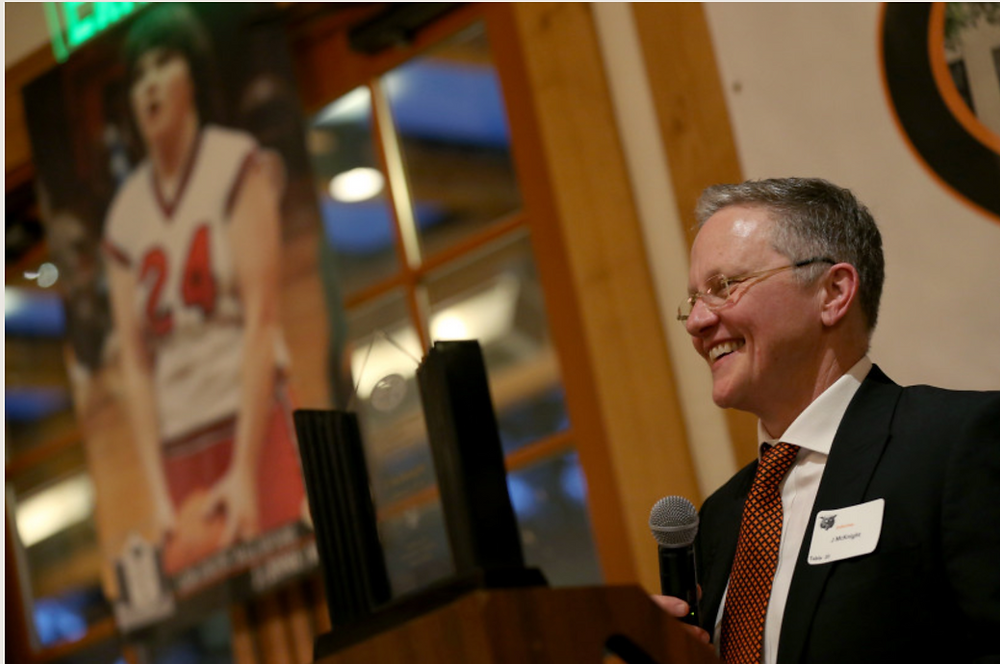 J McKnight speaks during an induction ceremony into the 2018 Los Gatos High School Athletic Hall of Fame
