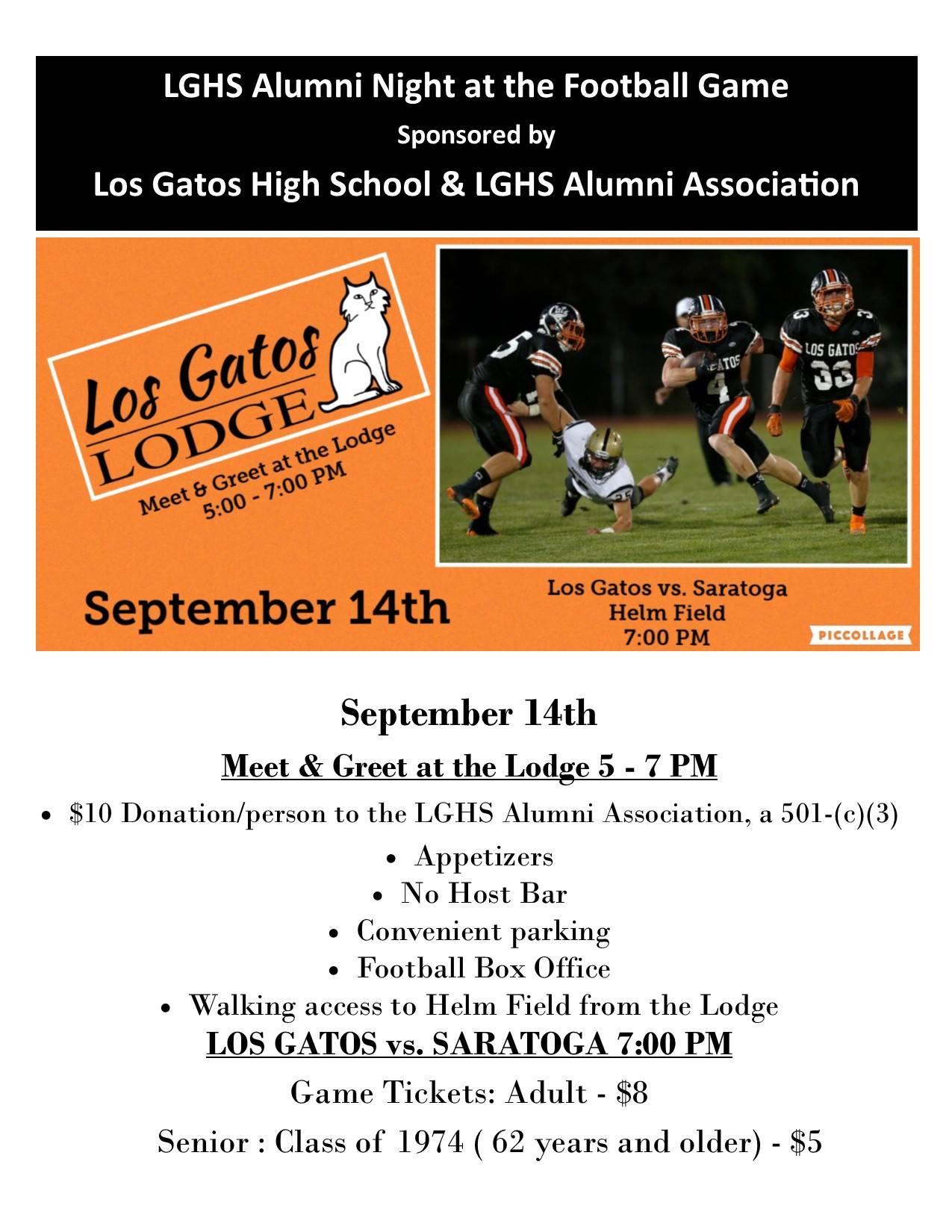 Los Gatos Alumni Night At The Football Game Sept 14 2018 Los