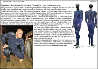 Backroads Magazine review of Sport Suit
