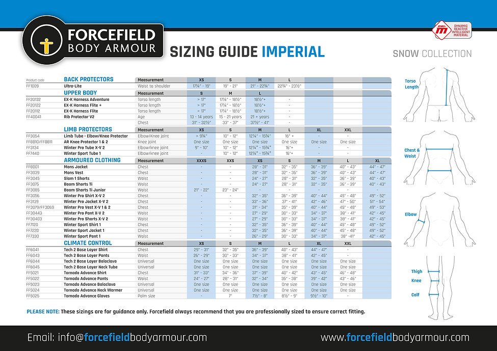 Sizing Guide - Snow - Imperial