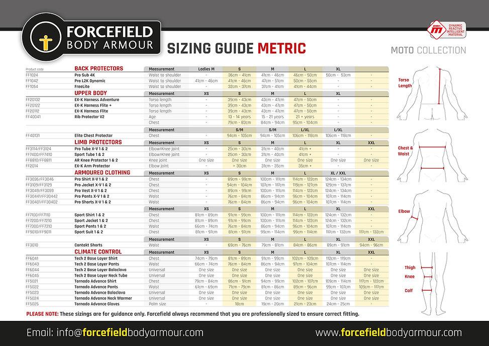 Sizing Guide - Moto - Metric