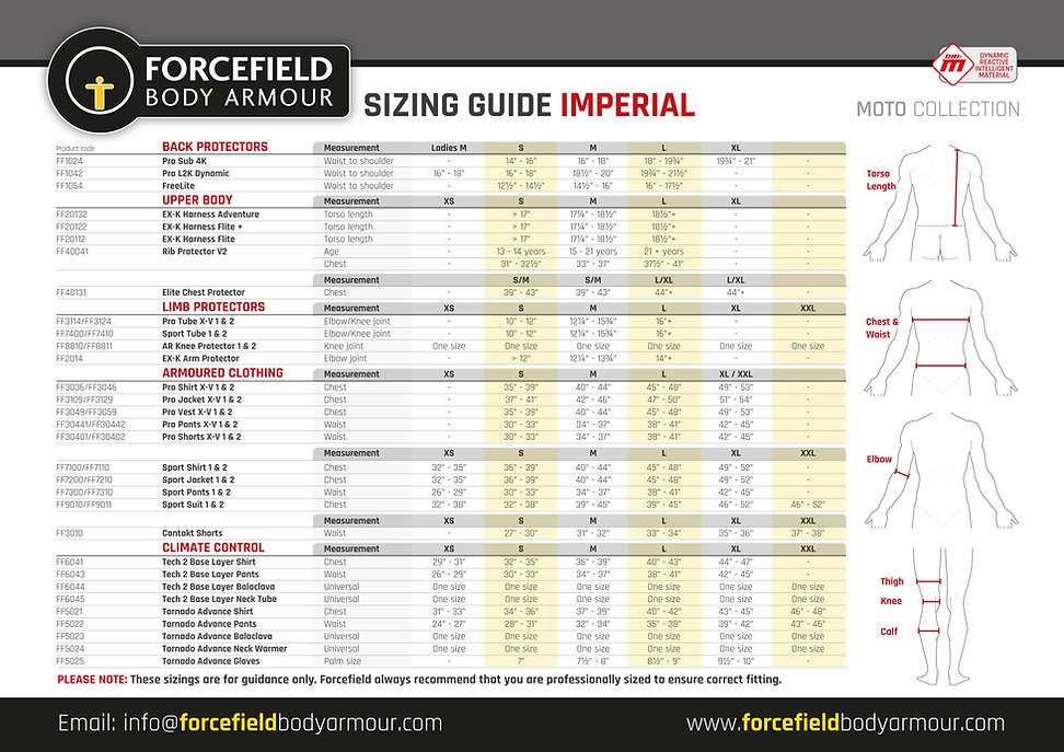 Sizing Guide - Moto - Imperial