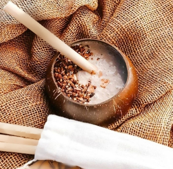 Kit Cumbuca /tigela /bowl De Coco Natural + Canudo De Bambu