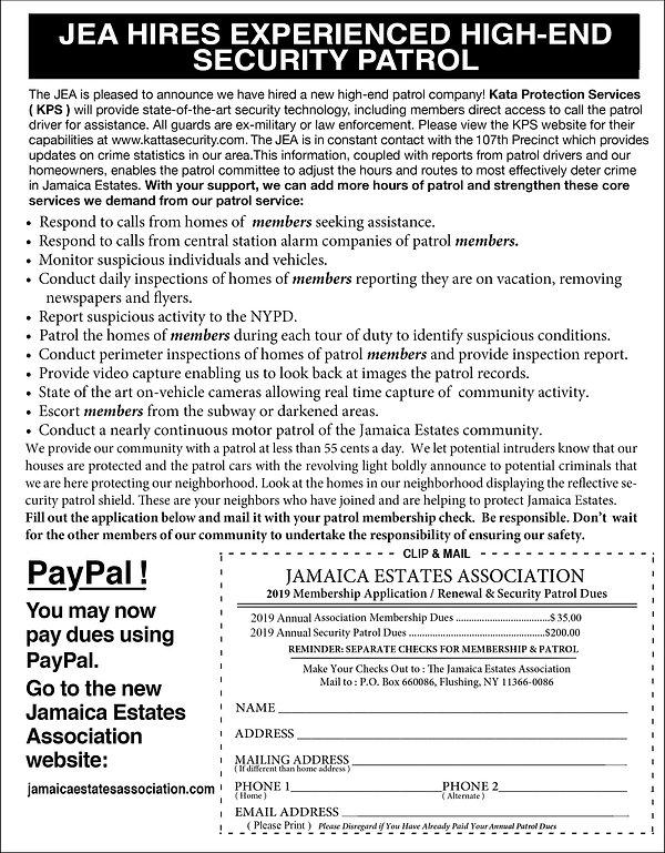 JEA Security Patrol Membership applicati