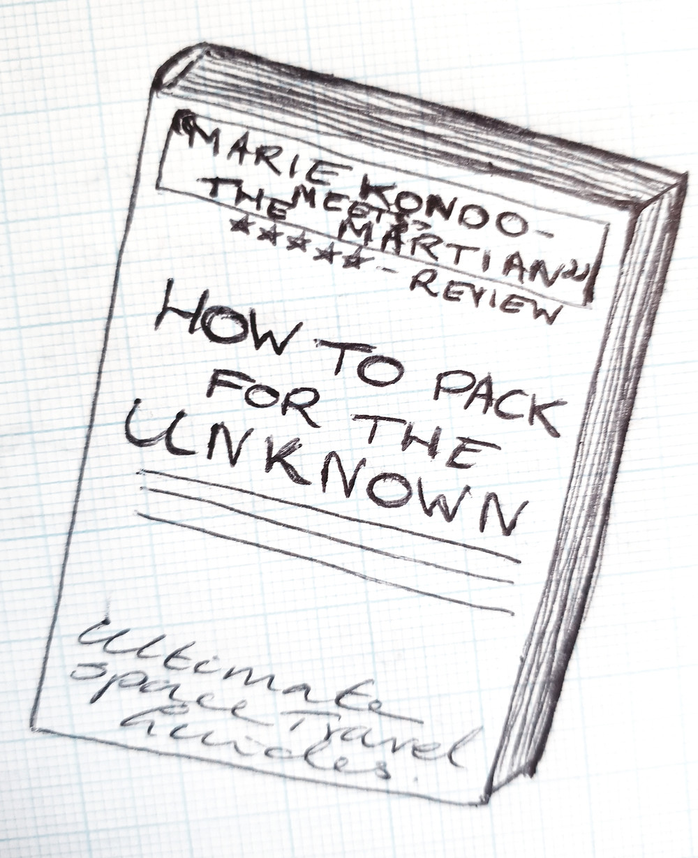 "sketch of a book called ""how to pack for the unknown"" from ultimate space travel guides"
