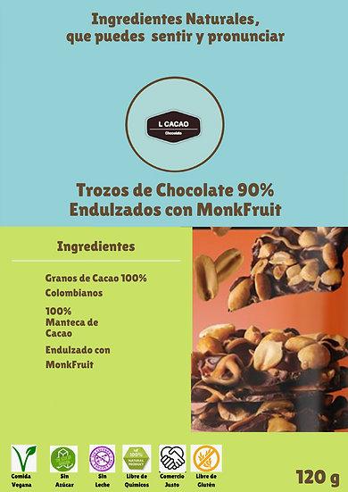 Trozos de Chocolate Oscuro 80% endulzado con Monkfruit