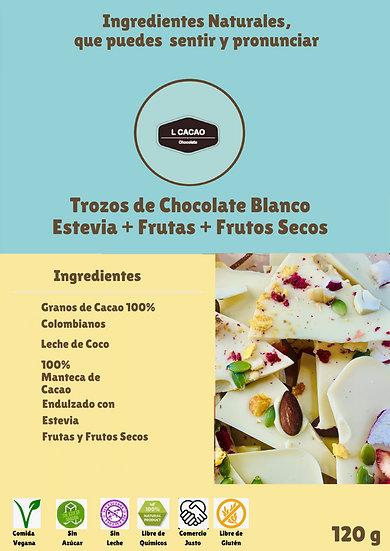 Trozos de Chocolate Blanco con Leche de Coco Endulzado con Stevia + frutas +nuec