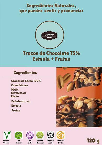 Trozos de  Chocolate oscuro 75% + Frutas + Stevia