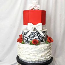Red, Black & White Wedding Cake