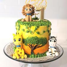 Baby's 1st Birthday Safari Cake