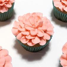 Pink Flower Vanilla Cupcakes