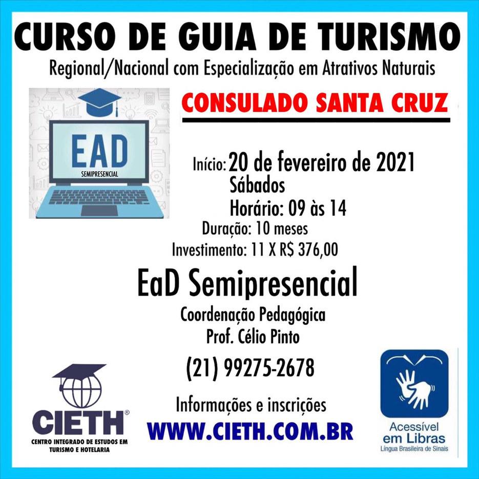 Curso de Guia de Turismo Regional (RJ) e NAcional (Brasil e América do Sul) CIETH UNIDADE SANTA CRUZ