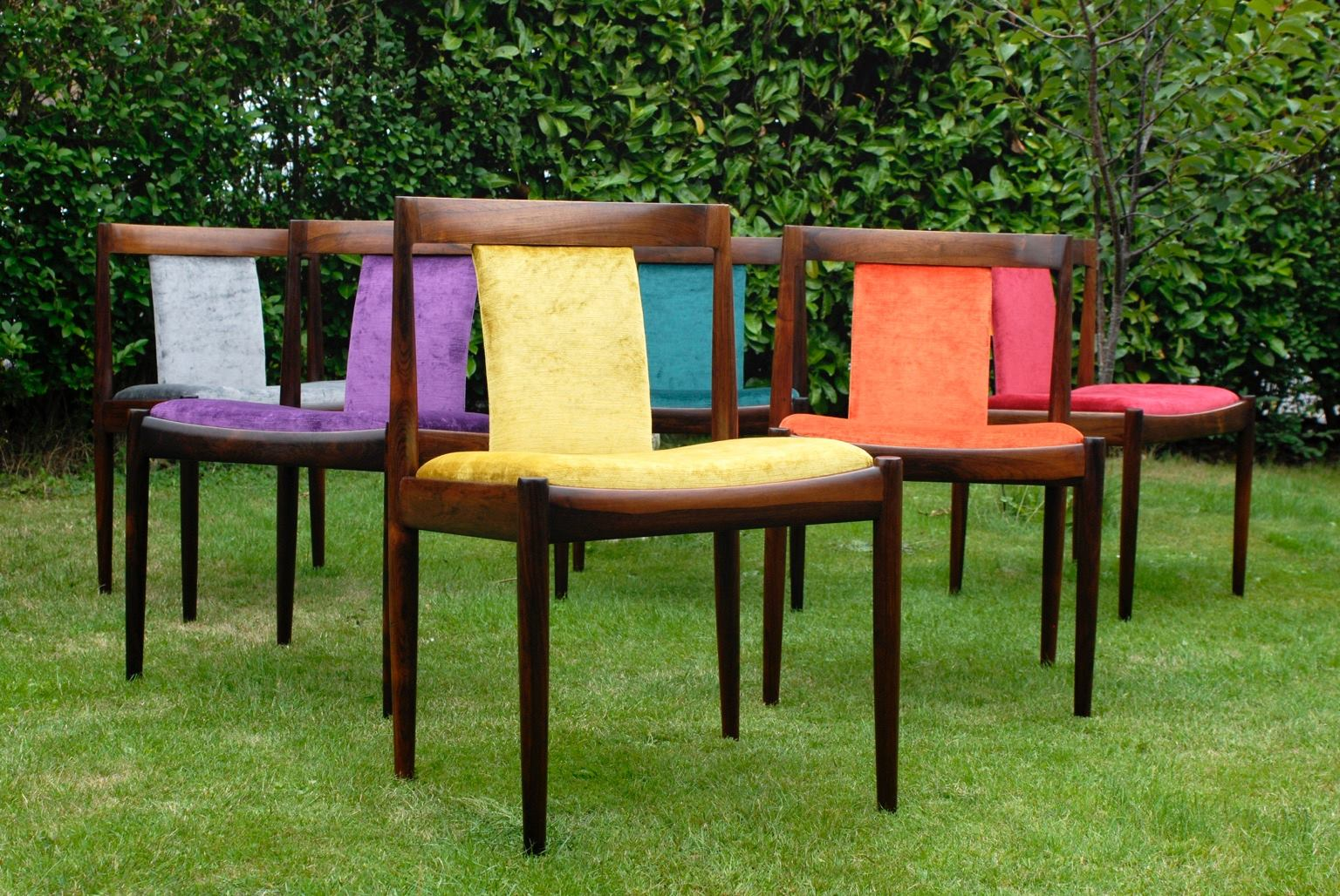 Vibrantly upholstered Mid-Century Rosewood Chairs