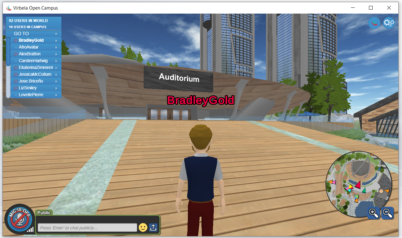 Walk to the auditorium using the arrow keys.