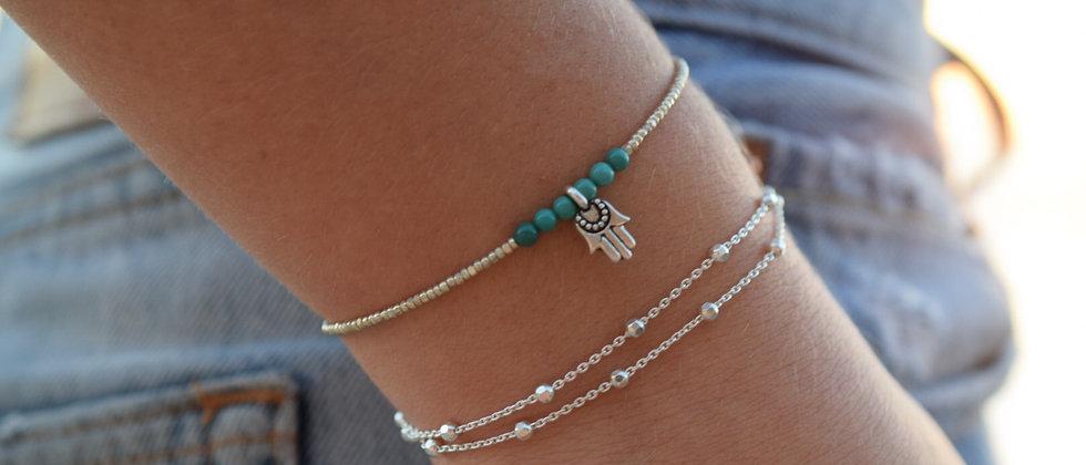 Double Silver Bead Bracelet