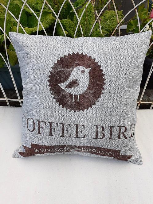 Blue recycled denim coffee sack cushion/denim coffee sack cushion/recycled coffe