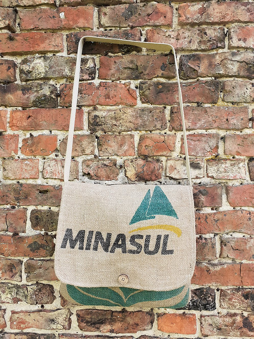 recycled jute coffee sack messenger bag/coffee sack shoulder bag/ jute messenger