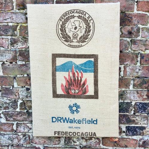 Coffee Sack Wall Art/Coffee Sack Wall Hanging/Recycled Coffee Bag Wall Hanging