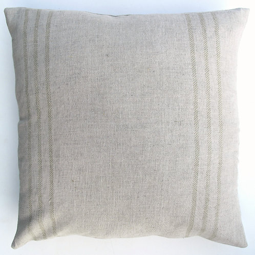 "Linen/cotton cushion green stripe 18"" square"