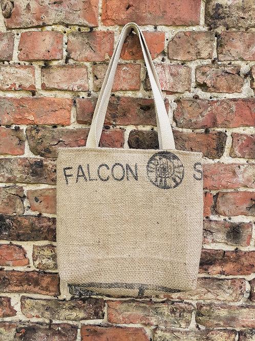 recycled coffee sack tote, tote bag, jute tote bag, coffee sack tote bag, jute t