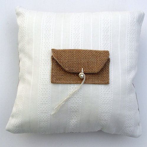 Cream cotton ring cushion/ring bearer cusion/ring pillow/wedding cushion/organic
