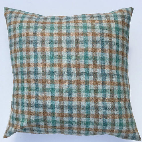 "British wool check cushion 16"" square jade/rust"