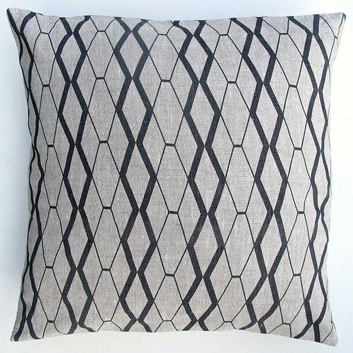 "Linen/cotton cushion 18"" square dark grey"