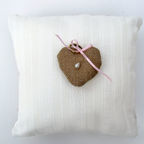 Cream cotton ring cushion/ring pillow/lappet ring cushion/wedding cushion