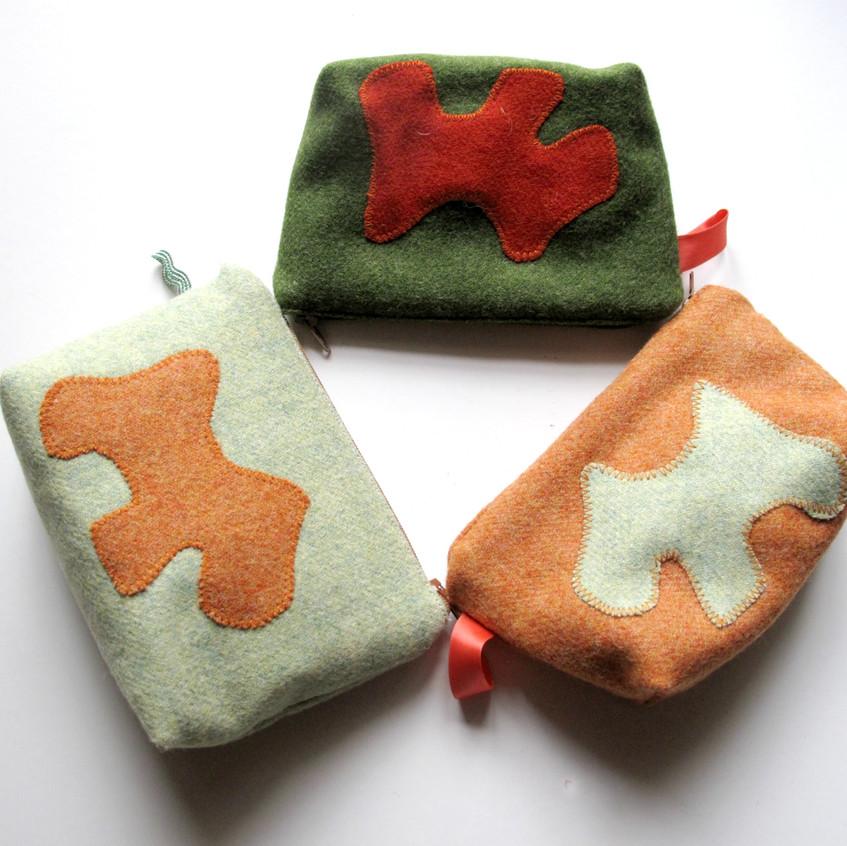 Wool cosmetic bags