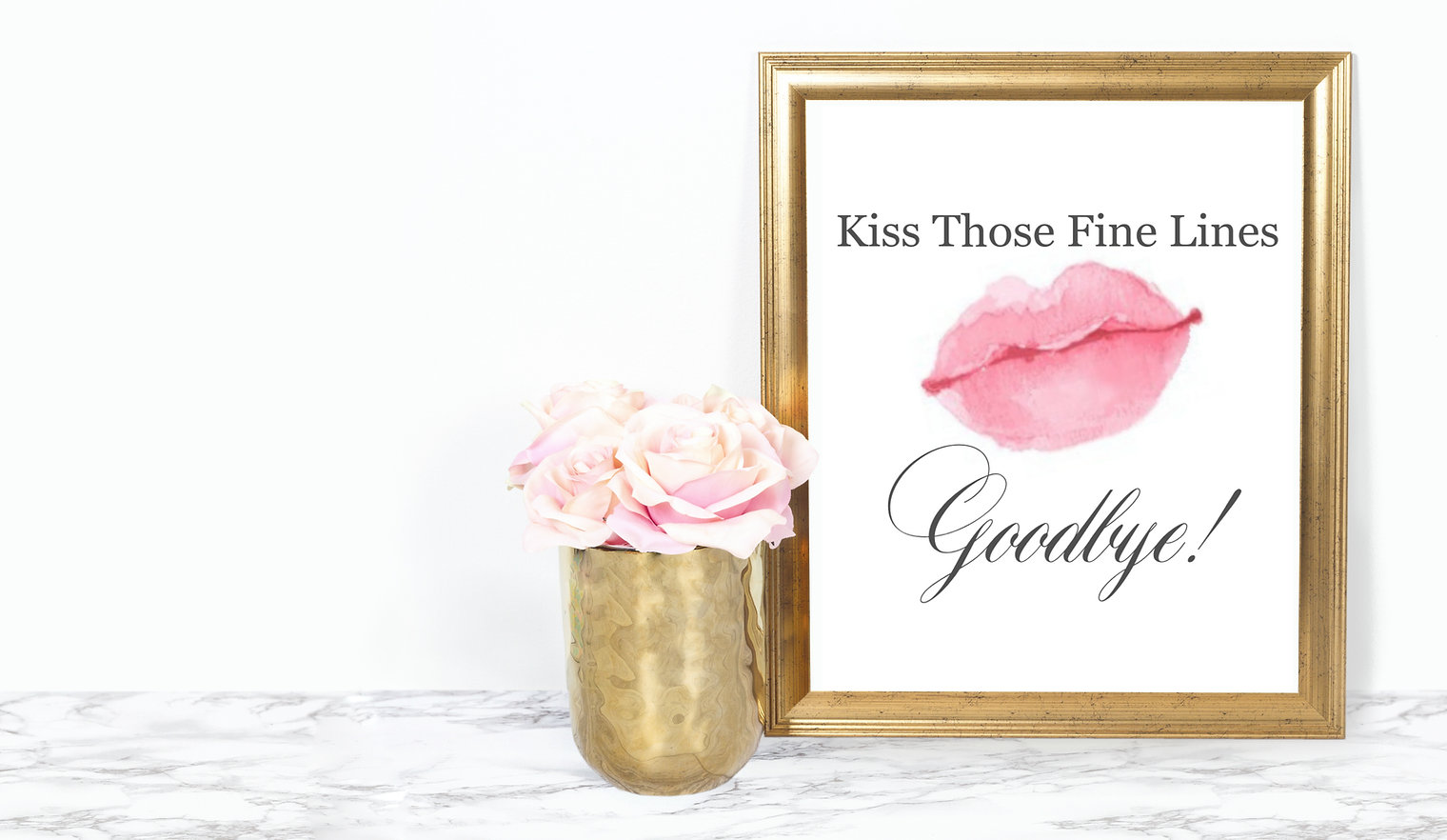 Gold Frame White Space - with kiss pic 8