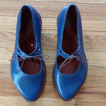 Cobalt Blue Single Strap Tie Shoes