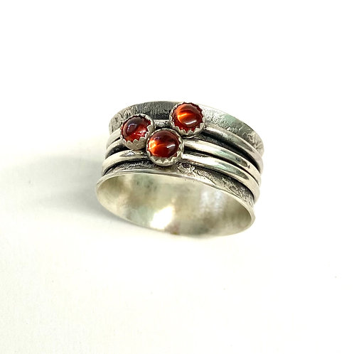 Triple Garnet Spinner Ring