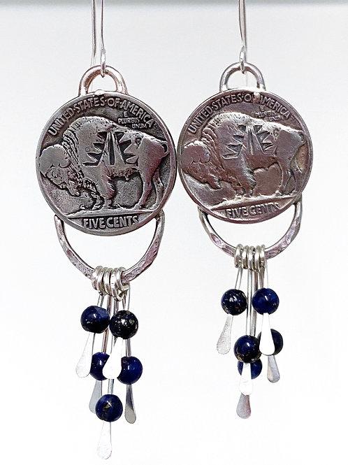 Buffalo Nickel Fringe Earrings with Lapis