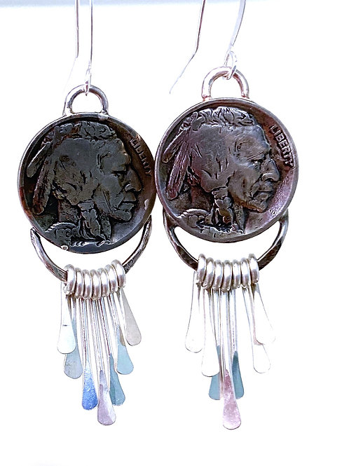 Buffalo Nickel Fringe Earrings