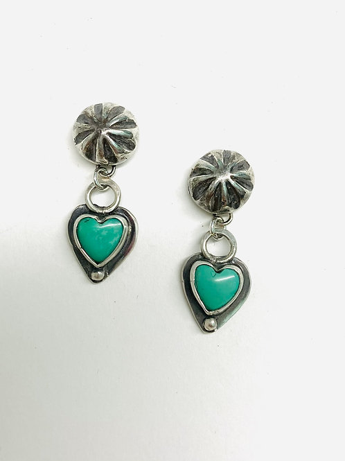 Tiny Turquoise Heart Earrings