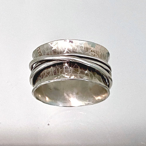 Hammered Silver Spinner Ring
