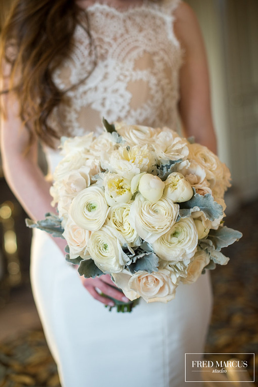 creamy white ranunculus and peonies