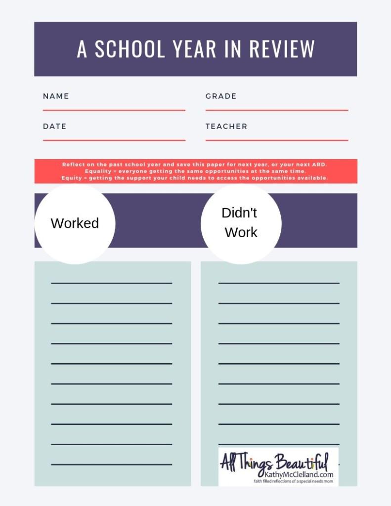 End of School Year Worksheet