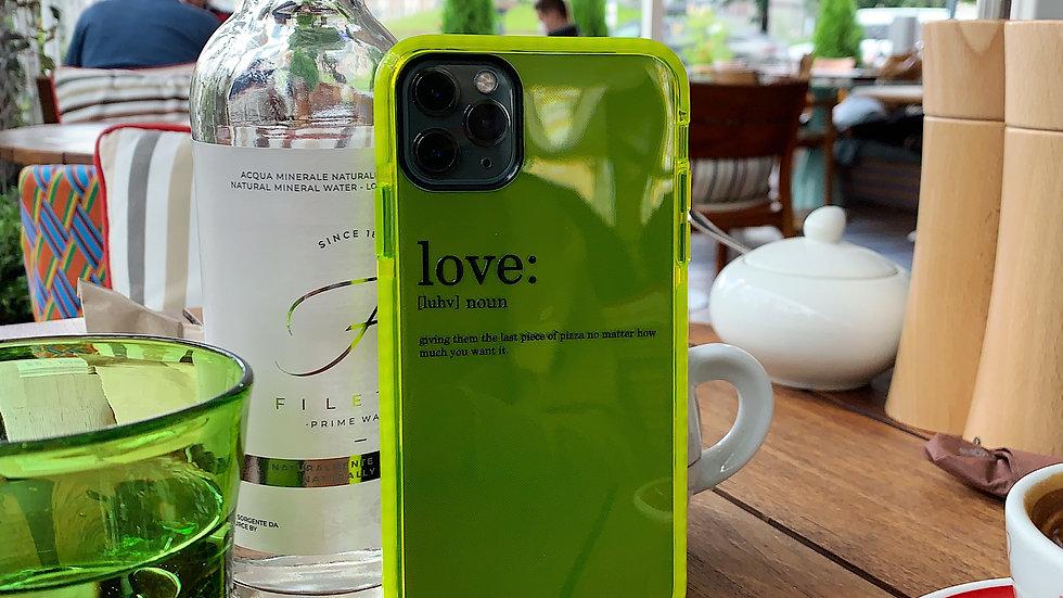 Элит-кейс на iPhone Neon green edition Love